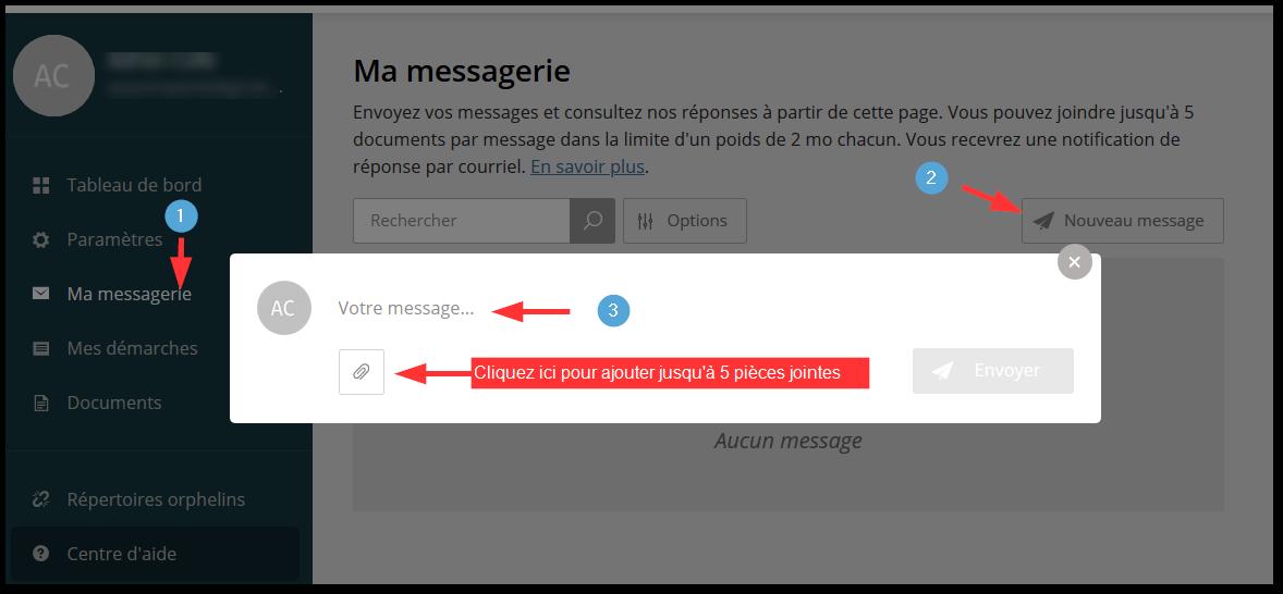 capture écran de la messagerie